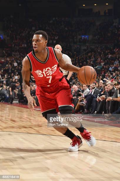 Kyle Lowry of the Toronto Raptors drives to the basket against the New Orleans Pelicans during the game on January 31 2017 at the Air Canada Centre...