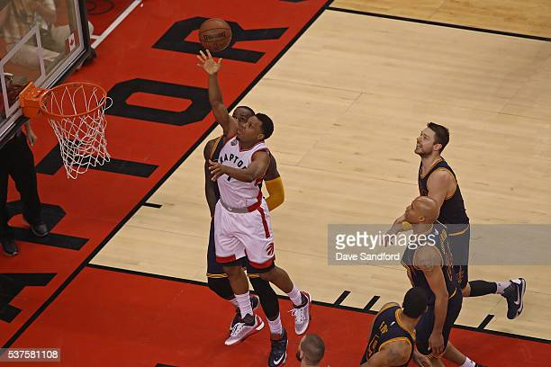 Kyle Lowry of the Toronto Raptors drives to the basket in Game Six of the NBA Eastern Conference Finals against the Cleveland Cavaliers at Air Canada...