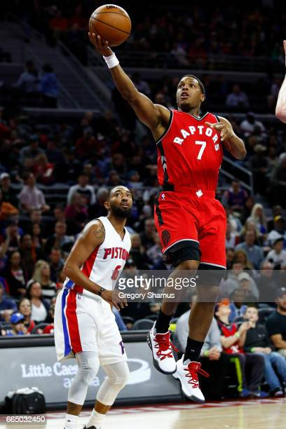 Kyle Lowry of the Toronto Raptors drives to the basket past Darrun Hilliard of the Detroit Pistons during the first half at the Palace of Auburn...