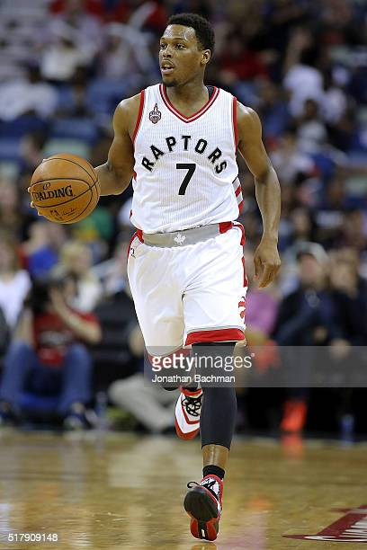 Kyle Lowry of the Toronto Raptors drives with the ball during a game at the Smoothie King Center on March 26 2016 in New Orleans Louisiana NOTE TO...