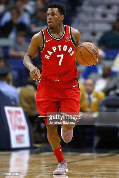 Kyle Lowry of the Toronto Raptors drives with the ball during the second half of a game against the New Orleans Pelicans at the Smoothie King Center...