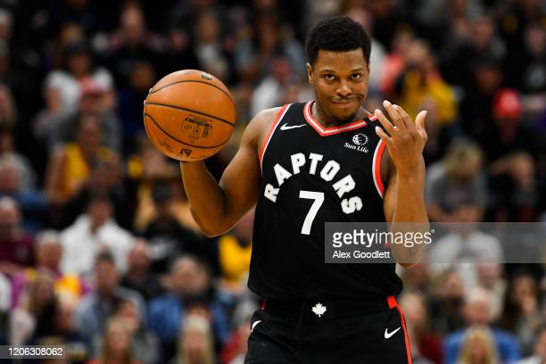 Kyle Lowry of the Toronto Raptors gestures during a game against the Utah Jazz at Vivint Smart Home Arena on March 9 2020 in Salt Lake City Utah NOTE...