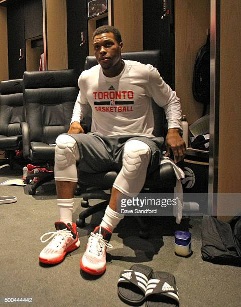 Kyle Lowry of the Toronto Raptors gets prepared before the game against the Golden State Warriors on December 5 2015 at Air Canada Centre in Toronto...