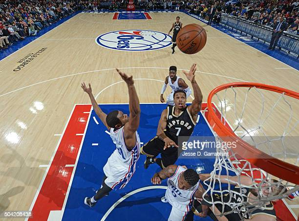 Kyle Lowry of the Toronto Raptors goes up for the easy bucket against the Philadelphia 76ers at Wells Fargo Center on January 9 2015 in Philadelphia...