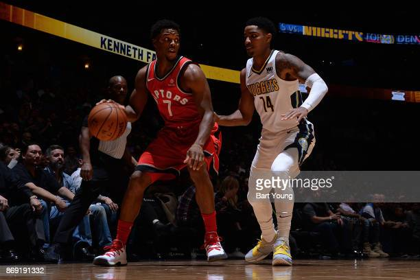 Kyle Lowry of the Toronto Raptors handles the ball against Gary Harris of the Denver Nuggets on November 1 2017 at the Pepsi Center in Denver...
