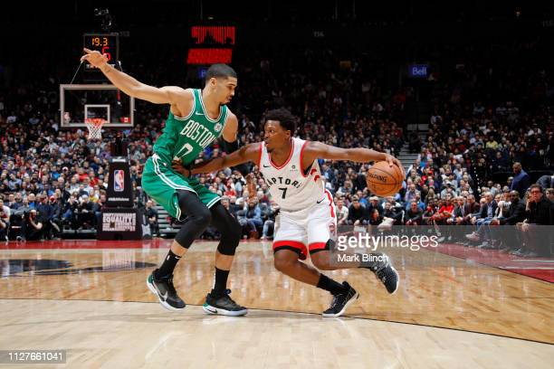 Kyle Lowry of the Toronto Raptors handles the ball against the Boston Celtics on February 26 2019 at the Scotiabank Arena in Toronto Ontario Canada...