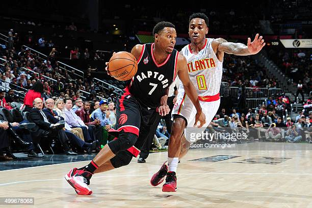 Kyle Lowry of the Toronto Raptors handles the ball during the game against the Atlanta Hawks on December 2 2015 at Philips Arena in Atlanta Georgia...