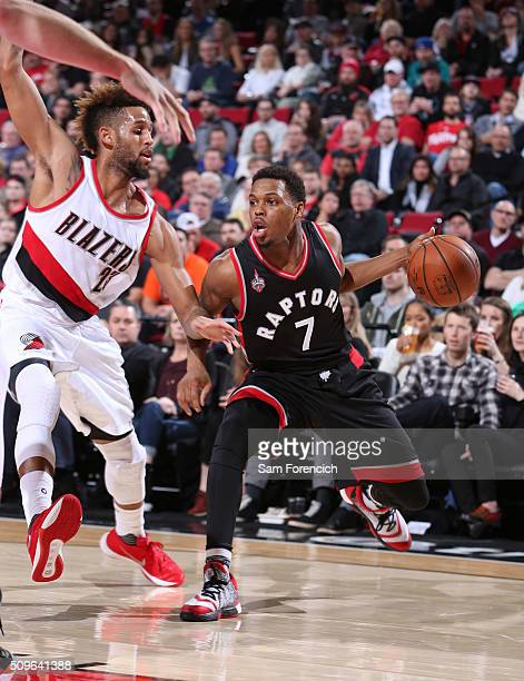 Kyle Lowry of the Toronto Raptors handles the ball during the game against the Portland Trail Blazers on February 4 2016 at the Moda Center Arena in...