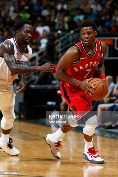 Kyle Lowry of the Toronto Raptors handles the ball during the preseason game against the LA Clippers on October 1 2017 at the Stan Sheriff Center in...