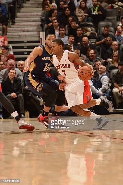 Kyle Lowry of the Toronto Raptors handling the ball during a game against the New Orleans Pelicans on February 10 2014 at the Air Canada Centre in...