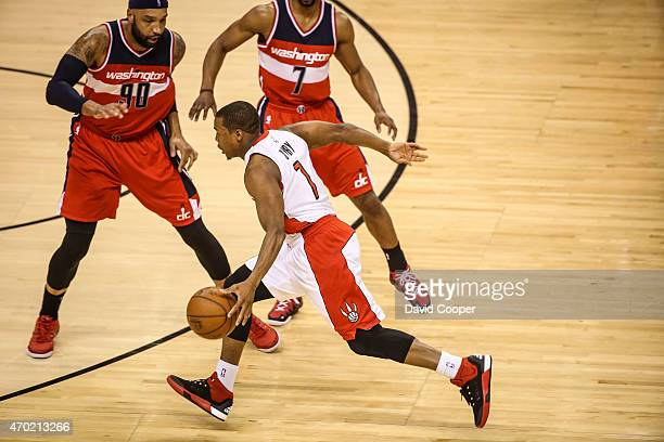 TORONTO ON APRIL 18 Kyle Lowry of the Toronto Raptors heads for the hoop during the game between the Toronto Raptors and the Washington Wizards at...