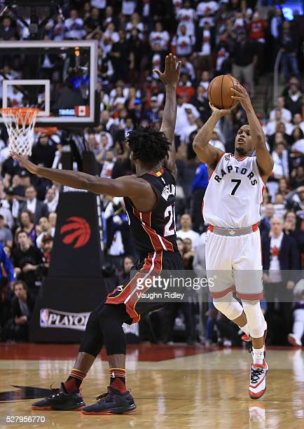 Kyle Lowry of the Toronto Raptors hits a halfcourt buzzer beater to tie Game One and send it into overtime during the Eastern Conference Semifinals...