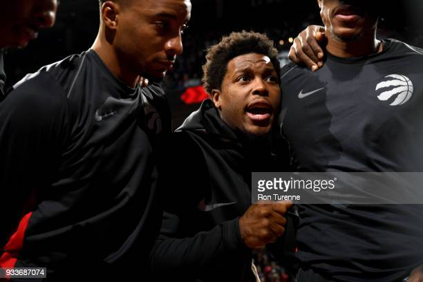 Kyle Lowry of the Toronto Raptors leads a huddle before the game against the Oklahoma City Thunder on March 18 2018 at the Air Canada Centre in...