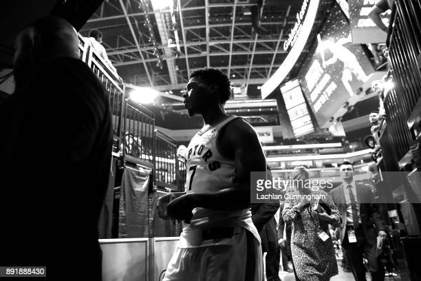 Kyle Lowry of the Toronto Raptors leaves the court after a win against the Sacramento Kings at Golden 1 Center on December 10 2017 in Sacramento...