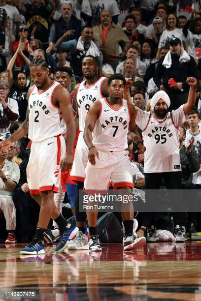 Kyle Lowry of the Toronto Raptors looks on during Game Seven of the Eastern Conference SemiFinals of the 2019 NBA Playoffs on May 12 2019 at the...