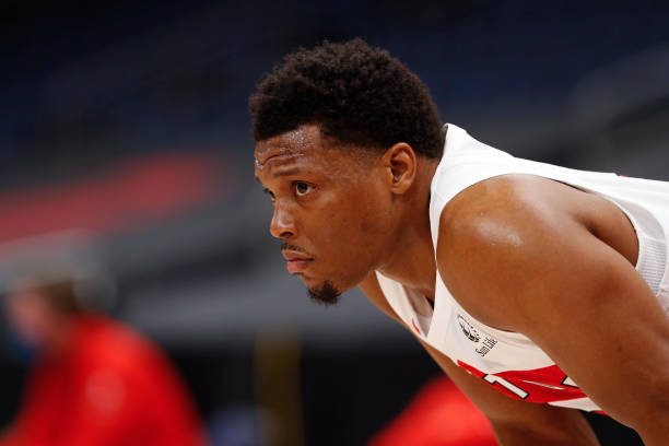 Kyle Lowry of the Toronto Raptors looks on during the game against the Minnesota Timberwolves on February 14, 2021 at Amalie Arena in Tampa, Florida....