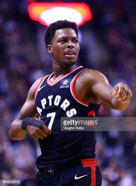 Kyle Lowry of the Toronto Raptors looks on during the second half of an NBA game against the Indiana Pacers at Air Canada Centre on December 1 2017...