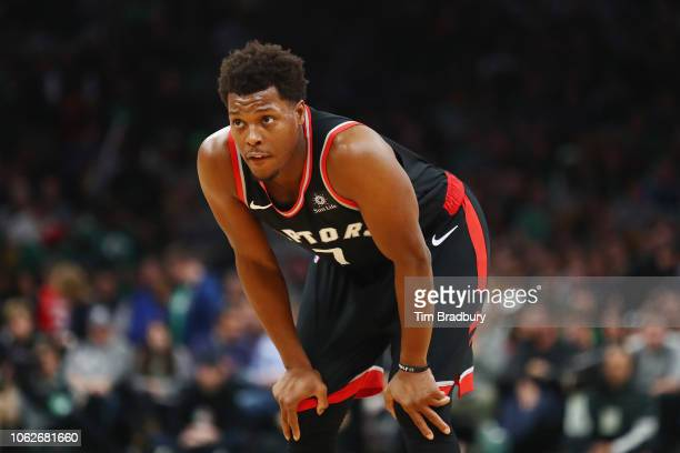 Kyle Lowry of the Toronto Raptors looks on during the second half against the Boston Celtics at TD Garden on November 16 2018 in Boston Massachusetts