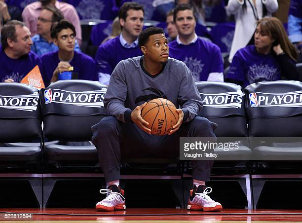 Kyle Lowry of the Toronto Raptors looks on from the team bench during warmups prior to Game Two of the Eastern Conference Quarterfinals against the...