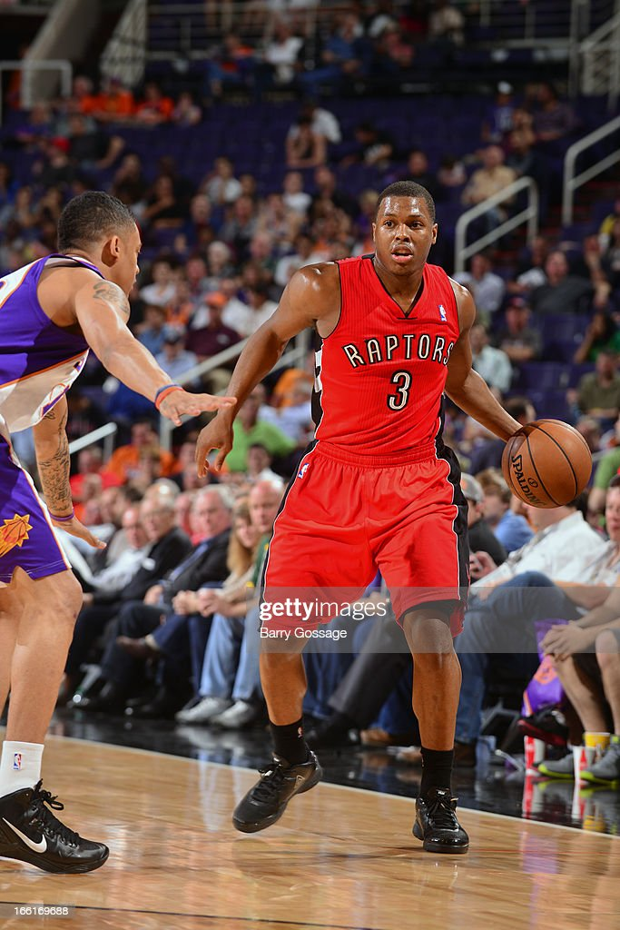 Kyle Lowry #3 of the Toronto Raptors looks to pass the ball against the Phoenix Suns on March 6, 2013 at U.S. Airways Center in Phoenix, Arizona.