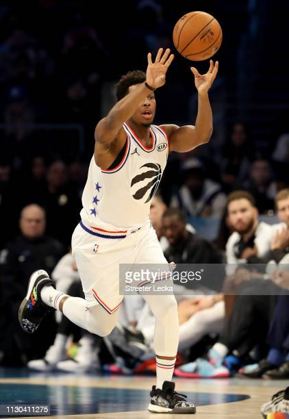 Kyle Lowry of the Toronto Raptors passes the ball against Team LeBron during the NBA AllStar game as part of the 2019 NBA AllStar Weekend at Spectrum...
