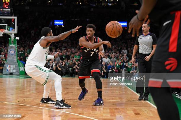 Kyle Lowry of the Toronto Raptors passes the ball against the Boston Celtics on November 16 2018 at the TD Garden in Boston Massachusetts NOTE TO...