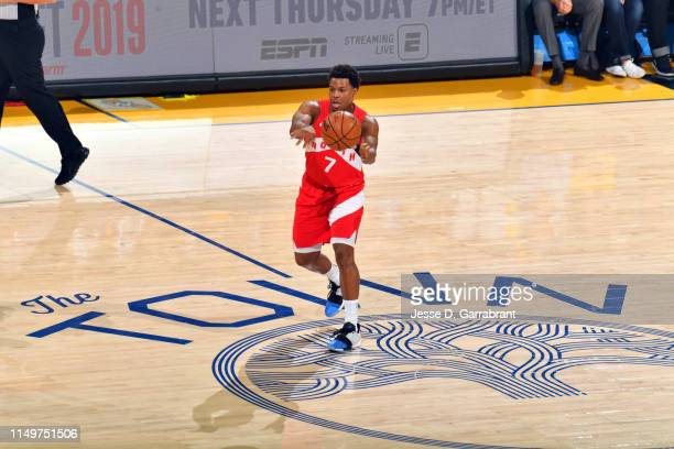 Kyle Lowry of the Toronto Raptors passes the ball against the Golden State Warriors during Game Six of the NBA Finals on June 13, 2019 at ORACLE...