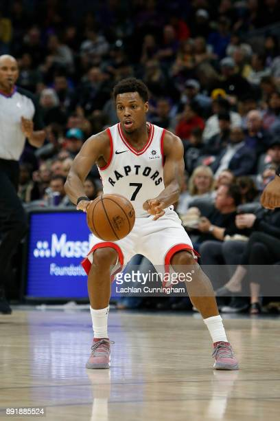 Kyle Lowry of the Toronto Raptors passes the ball against the Sacramento Kings at Golden 1 Center on December 10 2017 in Sacramento California NOTE...