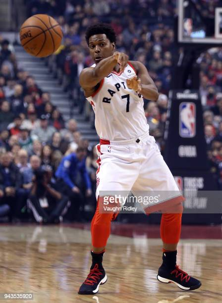 Kyle Lowry of the Toronto Raptors passes the ball during the first half of an NBA game against the Boston Celtics at Air Canada Centre on April 4...