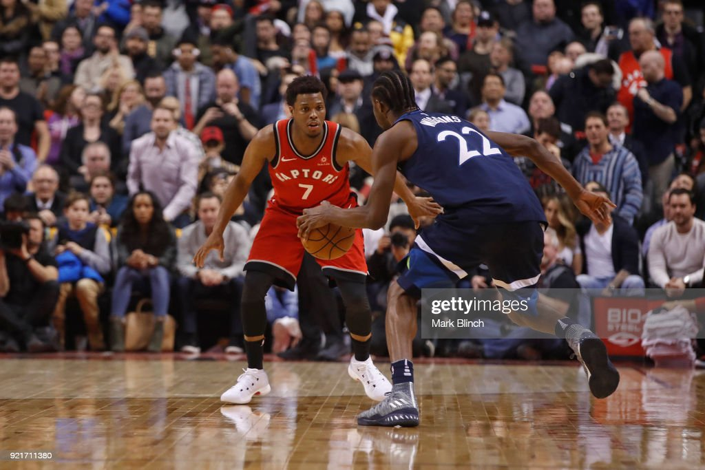 Kyle Lowry #7 of the Toronto Raptors plays defense against the Minnesota Timberwolves on January 30, 2018 at the Air Canada Centre in Toronto, Ontario, Canada.