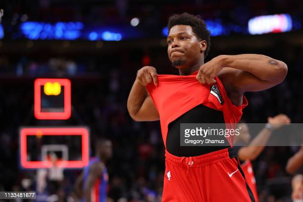 Kyle Lowry of the Toronto Raptors reacts after a 112107 overtime loss to the Detroit Pistons at Little Caesars Arena on March 03 2019 in Detroit...