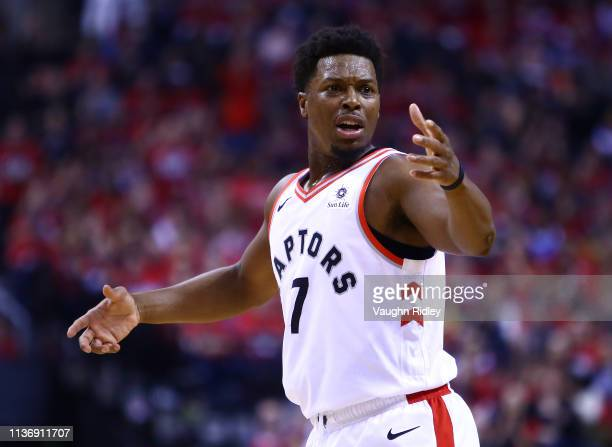 Kyle Lowry of the Toronto Raptors reacts after a call by an official in the first half during Game One of the first round of the 2019 NBA Playoff...