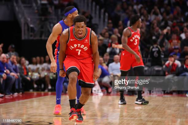 Kyle Lowry of the Toronto Raptors reacts after a second half three point basket while playing the Detroit Pistons at Little Caesars Arena on March 03...