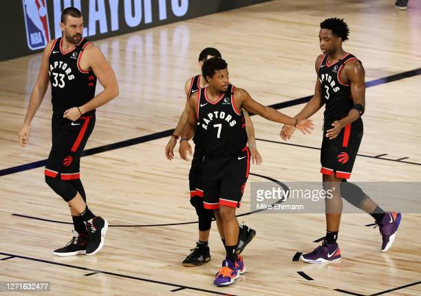 Kyle Lowry of the Toronto Raptors reacts after their win against the Boston Celtics during double overtime in Game Six of the Eastern Conference...