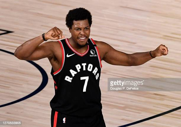 Kyle Lowry of the Toronto Raptors reacts after their win over Boston Celtics in Game Three of the Eastern Conference Second Round during the 2020 NBA...