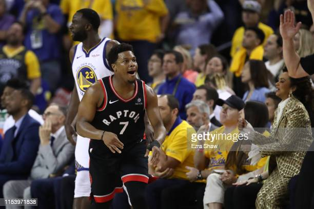 Kyle Lowry of the Toronto Raptors reacts against the Golden State Warriors during Game Three of the 2019 NBA Finals at ORACLE Arena on June 05 2019...