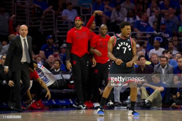 Kyle Lowry of the Toronto Raptors reacts against the Philadelphia 76ers in the second quarter of Game Three of the Eastern Conference Semifinals at...
