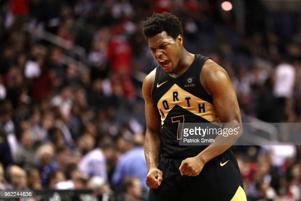 Kyle Lowry of the Toronto Raptors reacts against the Washington Wizards in the second half during Game Six of Round One of the 2018 NBA Playoffs at...