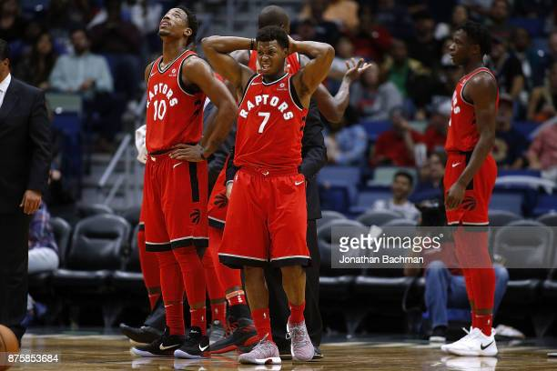 Kyle Lowry of the Toronto Raptors reacts during the second half of a game against the New Orleans Pelicans at the Smoothie King Center on November 15...
