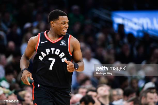 Kyle Lowry of the Toronto Raptors reacts in the second half against the Boston Celtics at TD Garden on October 25, 2019 in Boston, Massachusetts....