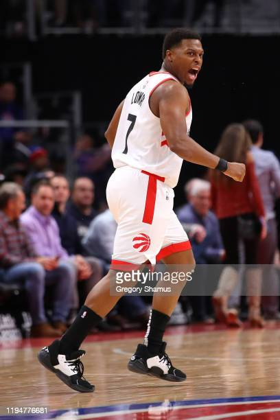 Kyle Lowry of the Toronto Raptors reacts to a first half three point basket against the Detroit Pistons at Little Caesars Arena on December 18 2019...