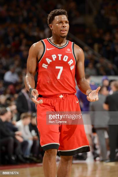 Kyle Lowry of the Toronto Raptors reacts to a play during the game against the Phoenix Suns on December 5 2017 at the Air Canada Centre in Toronto...