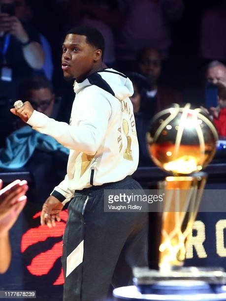 Kyle Lowry of the Toronto Raptors receives his Championship ring prior to the first half of an NBA game against New Orleans Pelicans at Scotiabank...