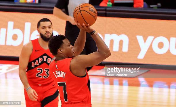 Kyle Lowry of the Toronto Raptors scores his 10,000th NBA point during a game against the Milwaukee Bucks at Amalie Arena on January 27, 2021 in...