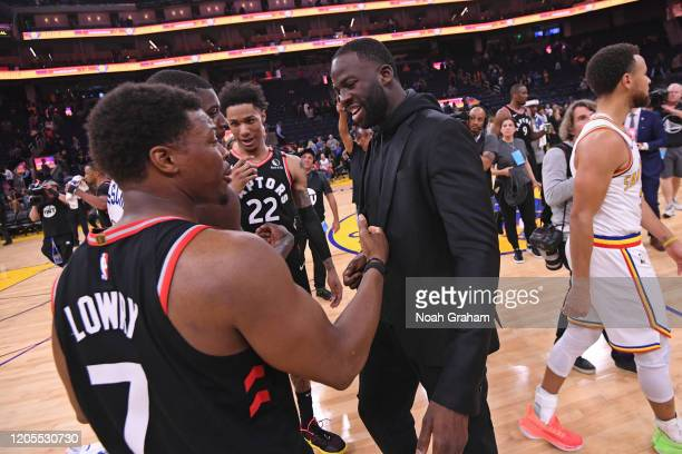 Kyle Lowry of the Toronto Raptors shakes hands with Draymond Green of the Golden State Warriors after the game on March 5 2020 at Chase Center in San...