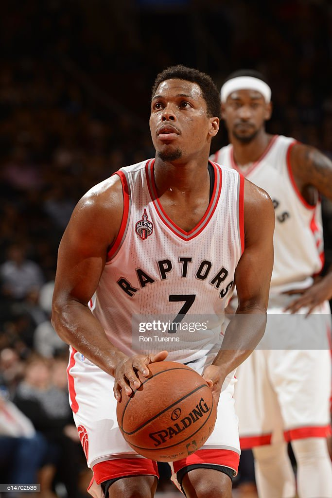 Kyle Lowry #7 of the Toronto Raptors shoots a free throw against the Atlanta Hawks on March 10, 2016 at the Air Canada Centre in Toronto, Ontario, Canada.