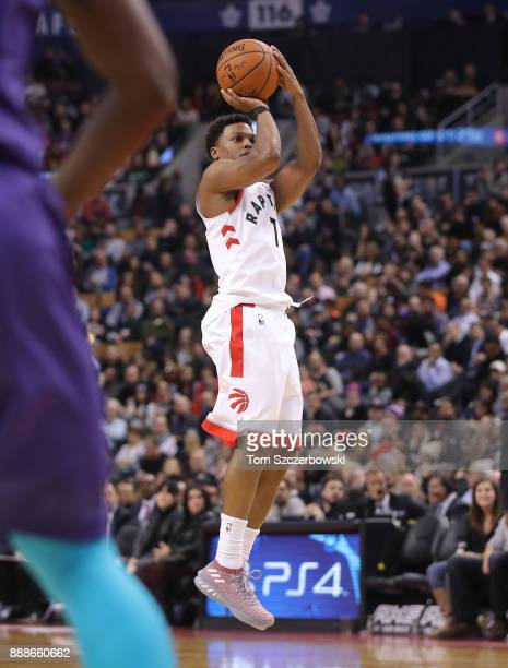 Kyle Lowry of the Toronto Raptors shoots against the Charlotte Hornets during NBA game action at Air Canada Centre on November 29 2017 in Toronto...