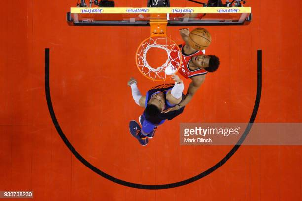 Kyle Lowry of the Toronto Raptors shoots the ball against the Oklahoma City Thunder on March 18 2018 at the Air Canada Centre in Toronto Ontario...