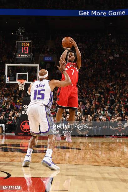 Kyle Lowry of the Toronto Raptors shoots the ball against the Sacramento Kings on December 17 2017 at the Air Canada Centre in Toronto Ontario Canada...