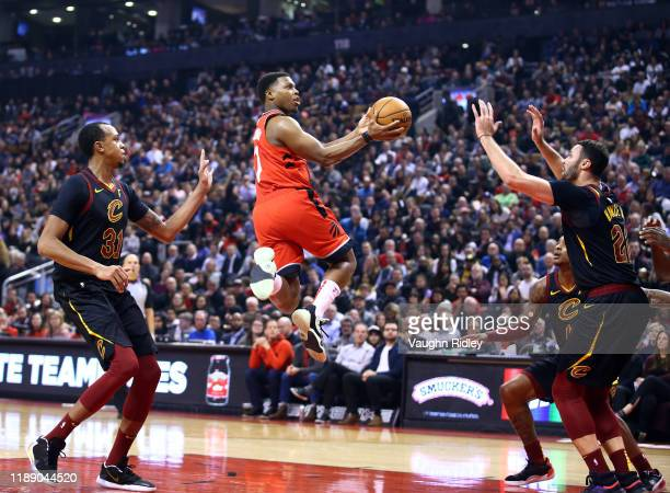Kyle Lowry of the Toronto Raptors shoots the ball during the first half of an NBA game against the Cleveland Cavaliers at Scotiabank Arena on...